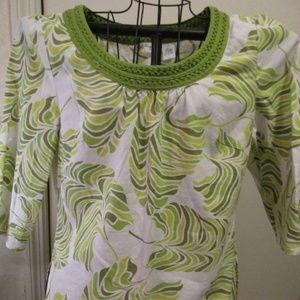 Talbots Print Long Sleeved Linen Top Large